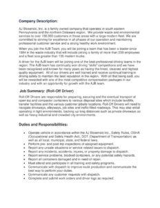 Ajb Roll Off Driver Job Description Aj Blosenski Inc